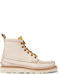 Beige Leather Casual Boots