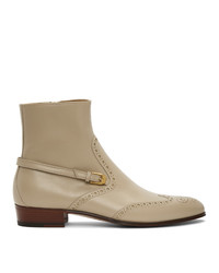 Gucci Beige Brogue Ankle Boots