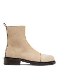 Ann Demeulemeester Beige Leather Zip Up Boots