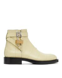 Givenchy Yellow Croc Padlock Boots