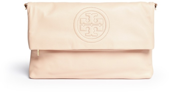 5e0715d7ce32 ... Tory Burch Bombe Foldover Leather Crossbody Clutch ...