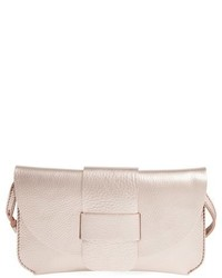 Leather flap clutch metallic medium 620041