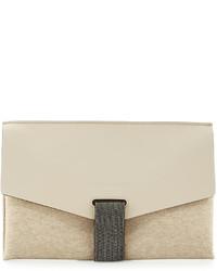 Brunello Cucinelli Monili Tab Leather Flap Clutch Bag Cream