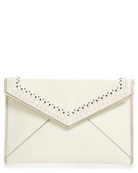 Rebecca Minkoff Whipstitch Leo Leather Clutch Brown
