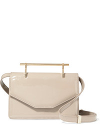 M2Malletier Indre Patent Leather Shoulder Bag Beige