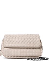 Bottega Veneta Messenger Mini Intrecciato Leather Shoulder Bag Cream