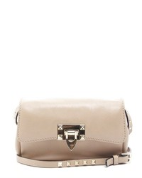Valentino Pre Owned Beige Leather Rockstud Crossbody Bag