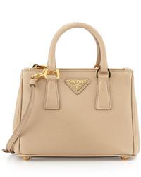 Prada Saffiano Mini Galleria Crossbody Bag Beige
