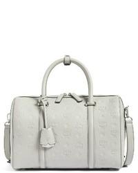 MCM Signature Monogram Embossed Leather Crossbody Bag Grey