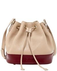 Susu Ava Beige Leather Bucket Bag Drawstring Crossbody Color Blocking