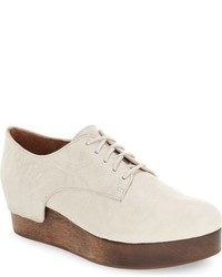 Beige Leather Derby Shoes