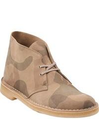 Beige Leather Desert Boots