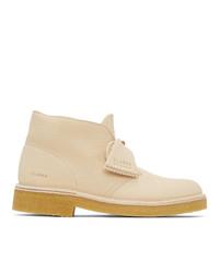 Clarks Originals Off White Leather 221 Desert Boots