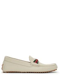 Gucci Off White Interlocking G Driver Loafers