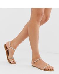 New Look Asymmetric Diamante Sandal In Nude
