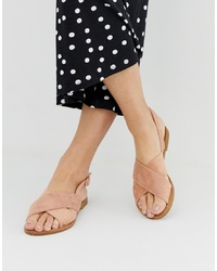 Glamorous Blush Cross Over Flat Sandals
