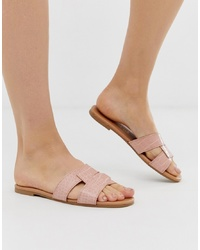 New Look Cross Flat Slider In Nude Croc