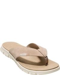 Beige Leather Flip Flops