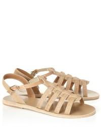 Beige Leather Gladiator Sandals