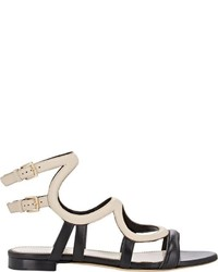 Sergio Rossi Arabesque Flat Gladiator Sandals Black