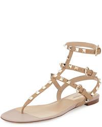 Valentino Garavani Rockstud Flat Thong Sandal Alpacapoudre