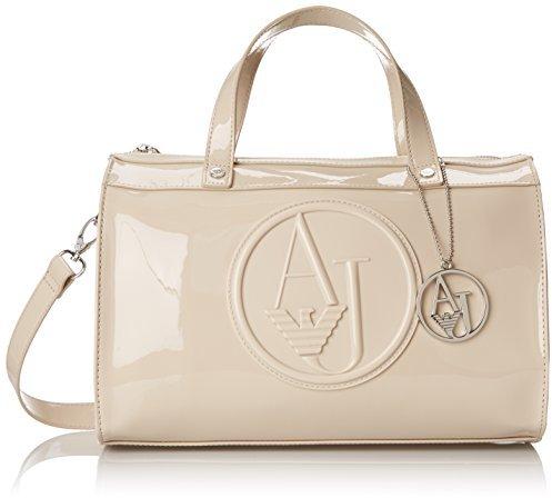 ... Leather Handbags Armani Jeans Rj Patent Bowler Top Handle Bag cbb6223c24eba