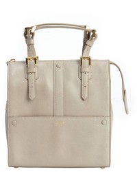 Giorgio Armani Beige Grained Leather Buckled Small Top Handle Satchel