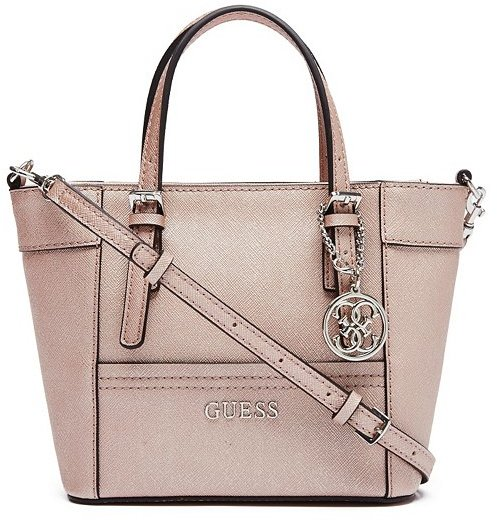 ... Leather Handbags GUESS Delaney Rose Gold Mini Tote ... 51a43b8802a38
