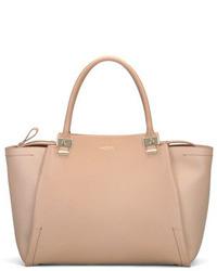 Lanvin Trilogy Leather Tote Bag Beige