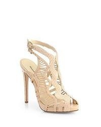 Alexandre Birman Python Leather Cutout Sandals Nude
