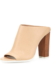 Vince Allison Leather Peep Toe Mule Nude