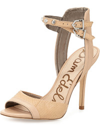 Sam Edelman Ayda Snake Embossed And Leather Ankle Wrap Pump Buff Nude