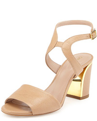 Chloé Chloe Leather Curve Heel Sandal Beige Rose