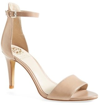 ... Beige Leather Heeled Sandals Vince Camuto Court Ankle Strap Sandal ...