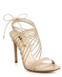 Casadei Criss Cross Leather Ankle Tie Sandals