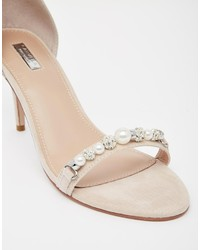 Carvela Gel Nude Embellished Kitten Heel Sandals | Where to buy ...