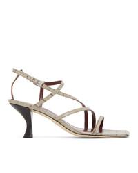 Staud Grey Croc Gita Heeled Sandals