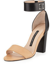 French Connection Katrin Two Tone Turn Lock Ankle Wrap Sandal Nudeblack