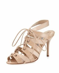 Manolo Blahnik Laona Patent Leather Lace Up Sandal Beige