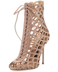 Sergio Rossi Laser Cut Leather Lace Up Sandal Beige