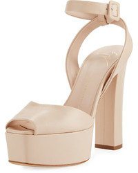 Giuseppe Zanotti Leather High Platform Sandal Beige