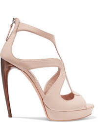 Alexander McQueen Leather Platform Sandals Beige