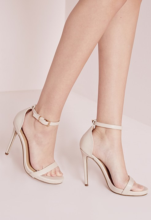 aa7916b7f2 Missguided Barely There Heeled Sandals Nude, $42 | Missguided ...
