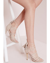 8472c2517798 ... Missguided Ultra Strappy Lace Up Heeled Sandals Nude
