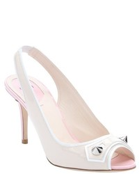 Fendi Nude And White Patent Leather By The Way Studded Peep Toe Pumps