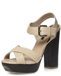 Dorothy Perkins Nude Block Heel Square Sandals