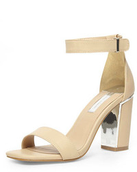 Dorothy Perkins Nude Metal Block Heel Sandals