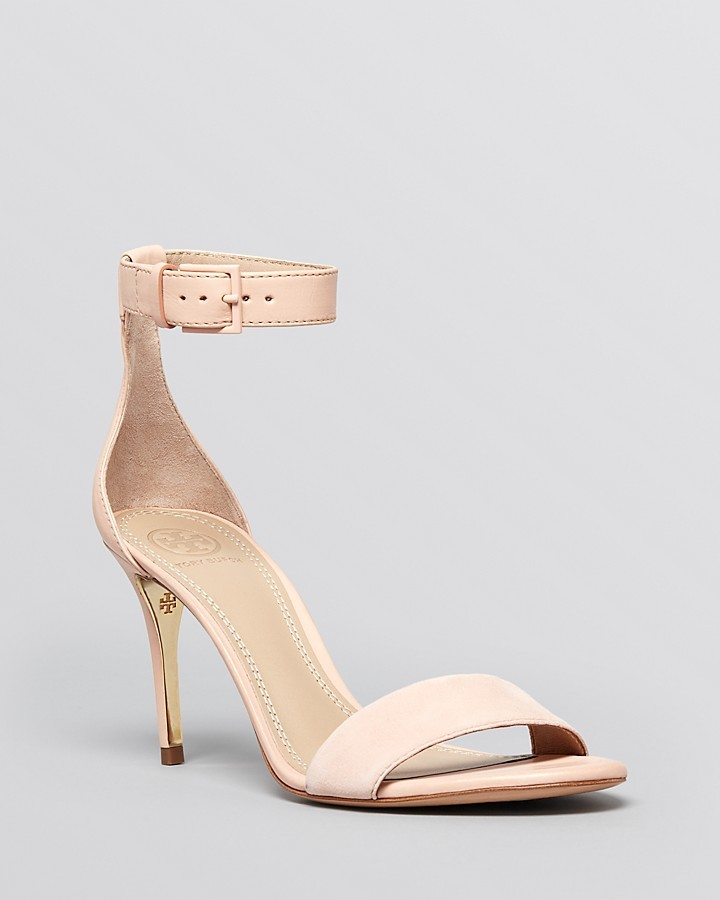 ... Beige Leather Heeled Sandals Tory Burch Open Toe Ankle Strap Sandals  Classic Suede High Heel ...