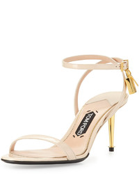 Tom Ford Patent Low Heel Ankle Lock Sandal Nude