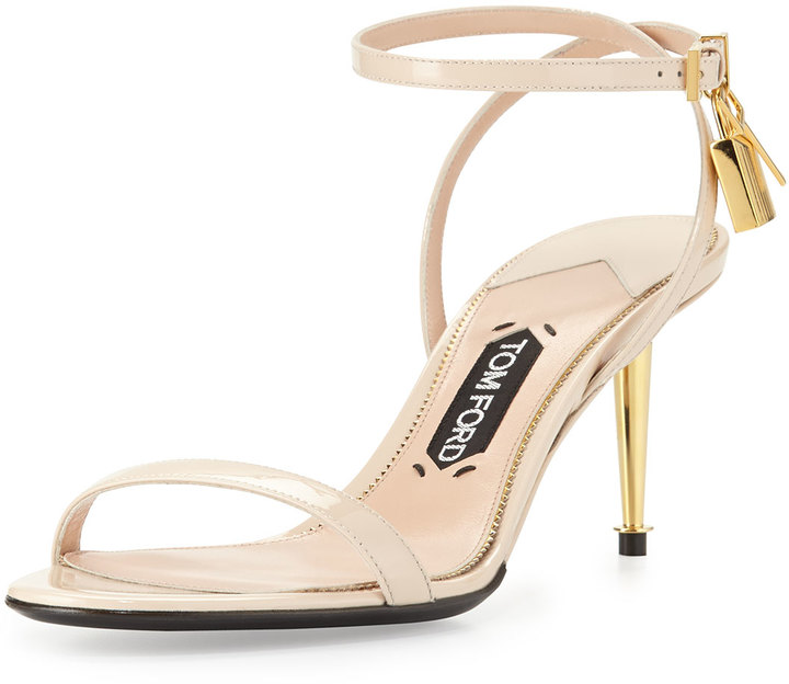 Tom Ford Patent Low Heel Ankle Lock Sandal Nude | Where to buy ...